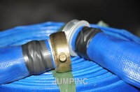 "1 1/2""x50' Blue PVC layflat hoses assembled with Pinlug"